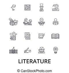 strokes., διάβασμα , σχεδιάζω , αναχωρώ , concept., απομονωμένος , λογοτεχνία , διαμέρισμα , γραμμικός , editable, σύμβολο , βιβλίο , icons., εικόνα , γραμμή , γράμμα , γράψιμο , μικροβιοφορέας , αγγλικός , μουσική , βιβλιοθήκη , ιστορία
