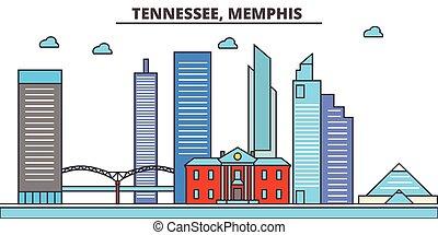 strokes., シルエット, ランドマーク, 建物, skyline:, concept., 風景, ベクトル, 線, 平ら, 建築, パノラマ, テネシー州, 都市, editable, デザイン, 通り, イラスト, memphis., icons.