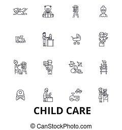 strokes., design, zeichen & schilder, baumschule, linie, concept., freigestellt, spielende , wohnung, linear, babysitter, symbol, editable, icons., vorschulisch, abbildung, kind, kindermädchen, kinder, zentrieren, daycare, vektor, sorgfalt
