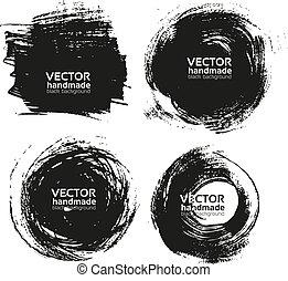 strokes-, feito à mão, pretas, fundos