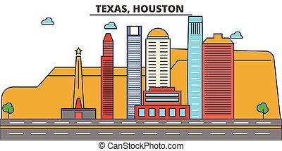 strokes., houston., silhouette, repères, bâtiments, skyline:, concept., paysage, vecteur, ligne, plat, architecture, panorama, ville, editable, conception, rues, illustration, icons., texas
