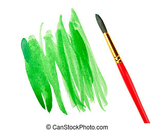 Strokes of green paint and paint brush isolated on white background