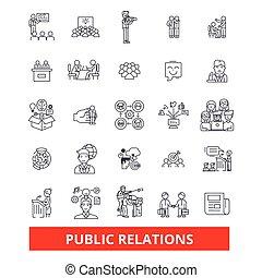 strokes., réputation, relations, conception, signes, publicité, renommée, concept., isolé, promouvoir, blanc, public, plat, linéaire, pubility, symbole, editable, icons., illustration, fond, ligne, commercialisation, vecteur