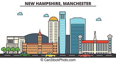 strokes., silhouette, limiti, costruzioni, skyline:, hampshire, concept., manchester., paesaggio, vettore, linea, appartamento, nuovo, architettura, panorama, città, editable, disegno, strade, illustrazione, icons.
