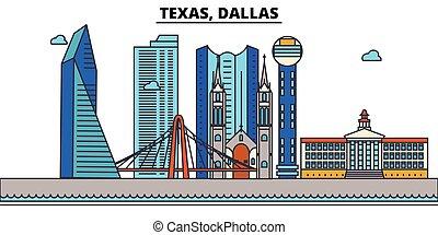 strokes., silhouette, repères, bâtiments, skyline:, concept., paysage, vecteur, ligne, plat, architecture, panorama, ville, editable, conception, rues, dallas., illustration, icons., texas
