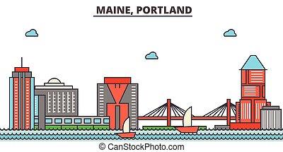 strokes., silhouette, repères, bâtiments, skyline:, concept., paysage, vecteur, ligne, plat, architecture, panorama, ville, editable, conception, maine, rues, illustration, icons., portland.
