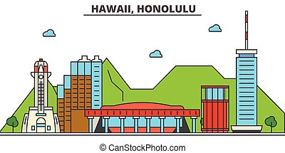 strokes., silhouette, repères, bâtiments, skyline:, concept., paysage, vecteur, ligne, plat, architecture, panorama, honolulu., ville, editable, conception, rues, illustration, icons., hawaï