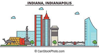 strokes., silhouette, repères, bâtiments, skyline:, indianapolis., concept., paysage, indiana, vecteur, ligne, plat, architecture, panorama, ville, editable, conception, rues, illustration, icons.