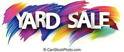 strokes., vente, yard, coloré, brosse, affiche