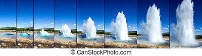 strokkur, geyser, éruption, séquence