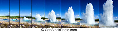 Strokkur Geyser eruption in sequence. Geothermal power,...