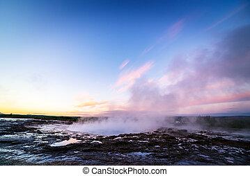 Strokkur geyser in Golden circle, Iceland - Strokkur geyser....