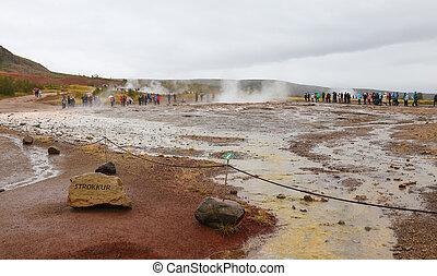 Strokkur Geysir in Iceland - Strokkur Geysir in Haukadalur...