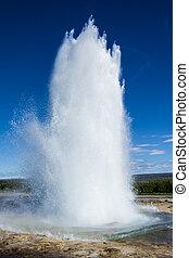 strokkur, islanda, geyser, erupting.