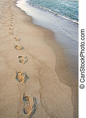 stroll., ロマンチック, margin., 手を伸ばす, ∥横に∥, 波, フィート, 痕跡