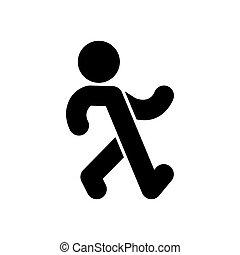 Stroll man sign. Promenade symbol. Saunter icon. vector illustration