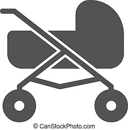 Stroller, baby, girl icon vector image. Can also be used for...