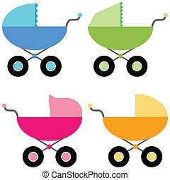 Stroller for baby - Illustration of a baby carriage set on a...