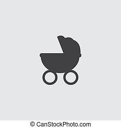Stroller icon in a flat design in black color. Vector illustration eps10