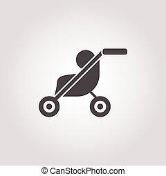 stroller icon on white background