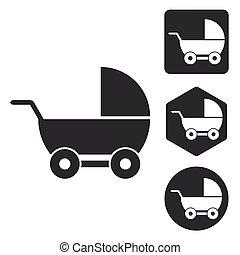 Stroller icon set, monochrome