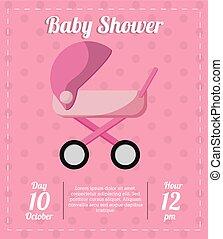 Stroller of baby shower card design