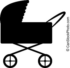 Stroller on white background