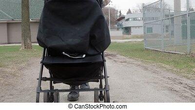stroller., pousser, 4k, elle, mère