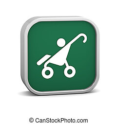 Stroller sign on a white background. Part of a series.