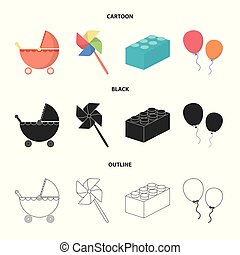 Stroller, windmill, lego, balloons.Toys set collection icons in cartoon,black,outline style vector symbol stock illustration web.