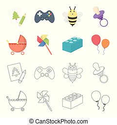 Stroller, windmill, lego, balloons.Toys set collection icons in cartoon,outline style vector symbol stock illustration web.