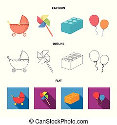 Stroller, windmill, lego, balloons.Toys set collection icons in cartoon,outline,flat style vector symbol stock illustration web.