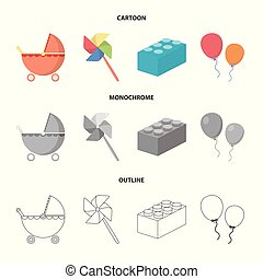 Stroller, windmill, lego, balloons.Toys set collection icons in cartoon,outline,monochrome style vector symbol stock illustration web.