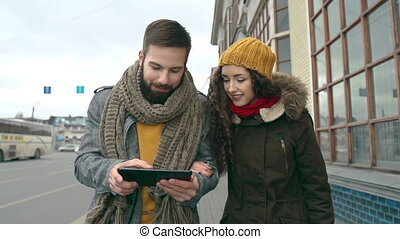 Strolling Couple - Slow motion of hipster couple approaching...