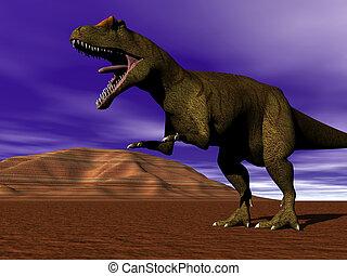 Dinosaur allosaurus strolling
