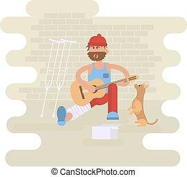 Strolling musician. Homeless man