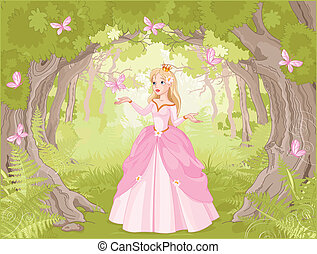 strolling, prinsesje, in, de, fantastisch