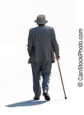 Strolling Senior - An walking old man isolated in white