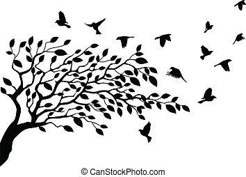 strom, a, ptáček, silueta