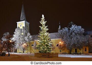 strom, církev, fotografie, zima, překrásný, snow., vánoce, večer
