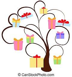 strom, dovolená, dávat, neposkvrněný, osamocený, dar
