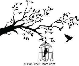 strom, let, silueta, ptáček