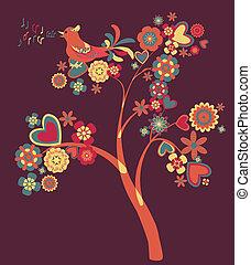 strom, o, květiny