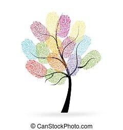 strom, s, barvitý, ohmatat, razidlo