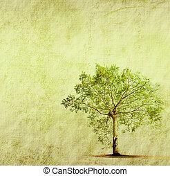 strom, s, dávný, grunge, antický, noviny, tkanivo