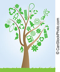 strom, s, ekologie, symbol
