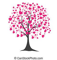 strom, s, hearts., vektor, ilustrace
