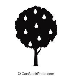 strom, s, hruška, čerň, jednoduchý, ikona