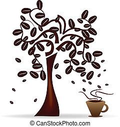 strom, s, káva bob