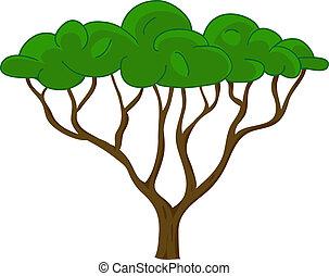 strom, vektor, osamocený, oproti neposkvrněný